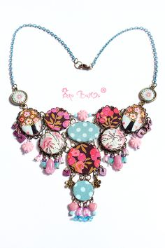 Lovely necklace!!! Made by Ana Basoc Collana in tessuto Pink flowers -Bohemian- Hippie  di DREAMER HOUSE su DaWanda.com