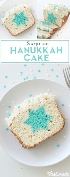 Hanukkah Cake ~ Recipe Nobody would guess what's hiding in this deliciously fun frosted pound cake. Surprise Hanukkah Cake ~ Recipe Nobody would guess what's hiding in this deliciously fun frosted pound cake. Feliz Hanukkah, Hanukkah Crafts, Hanukkah Food, Hanukkah Decorations, Christmas Hanukkah, Hannukah, Happy Hanukkah, Hanukkah Recipes, Hanukkah 2019