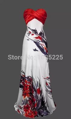 Cruise formal wear Strapless Ruched Floral Ink Printed Long Evening Dress S M L XL 18 Red Pretty Outfits, Pretty Dresses, Evening Dresses, Prom Dresses, Strapless Dress, Vestidos Vintage, Beautiful Gowns, Gorgeous Dress, Dress To Impress