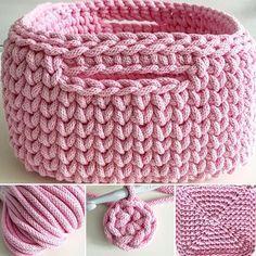 crochet basket in pink