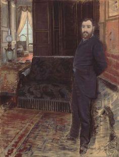 Giuseppe De Nittis,<br> Autoritratto, 1884 <br> Pastello su tela, cm. 114x88 <br> Barletta, Pinacoteca Giuseppe De Nittis
