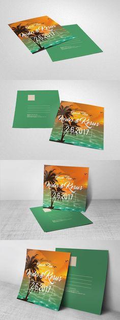 Summer Beach Party Post Card . Wedding Card Templates