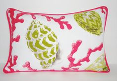OUTDOOR/INDOOR Pink & Green shell lumbar pillow cover with piping/cording Size 12x18  All seams are finished with zipper closure. Sized to fit my