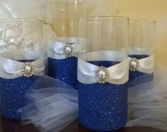 royal blue glitter vase royal blue theme wedding centerpieces glass vase with your choice of