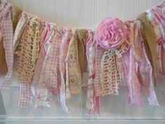 Shabby Burlap Lace Pink Wedding /Torn Fabric Rag Garland /Bunting/Cottage/Banner/ Vintage Rag Tie Garland /Baby Shower /The Anna Grace Rag Garland, Fabric Garland, Bunting Garland, Fabric Banners, Party Garland, Lace Shower Curtains, Rag Curtains, Valance, Girl Shower