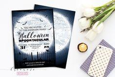 Digital Halloween Invitation Black Halloween Invite Bats Moon Spooky Cemetery…