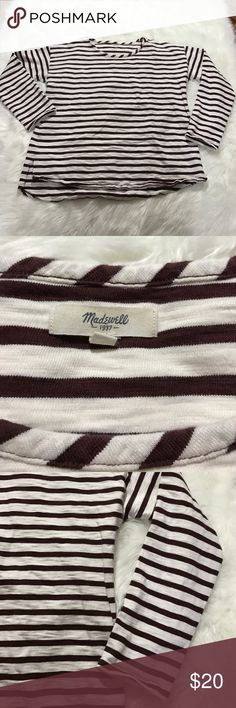 """Madewell brown and white stripe shirt Madewell brown and white stripe long sleeve shirt size large. The fabric content tag has been removed. Bust 22"""", length 26"""" Madewell Tops Tees - Long Sleeve"""
