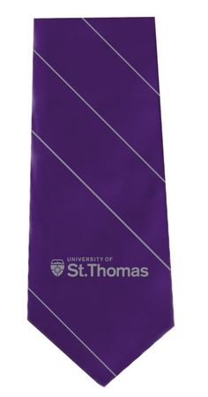 "Tie-- purple with grey thin stripe and St, Thomas logo, 60"", polyester. ($24.99) Maine, St Thomas, Purple, Logos, Grey, Ash, Gray, Purple Stuff, Logo"