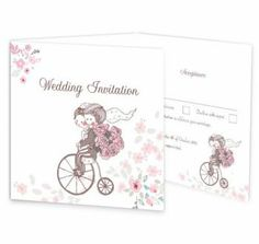 The smitten couple wedding invitation design is a beautiful illustration of a bride and groom as they cycle delightfully on a Penny Farthing bicycle from their wedding ceremony. This invite has a perforated rsvp panel along with an extra panel for important information.