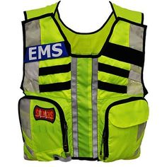 High visibility vest with pockets for added storage as well as removable name plates. Safety Vest!