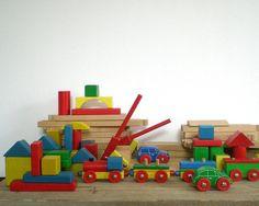 VINTAGE wooden toys, wooden train, wooden railway,  wooden blocks. $48.50, via Etsy.