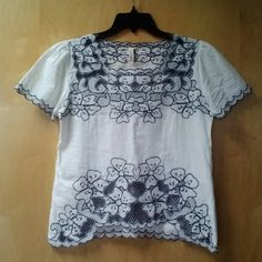 """*HPx2!* My Beloved White Embroidered Blouse *4/24/16 and 3/6/16 Wardrobe Goals Party Host Pick!* My Beloved brand, size S/M, in excellent condition! Wrinkled in photos from wash and hang dry. Blouse is white with navy embroidery. Sleeves are puffy. The details in this top are amazing! 18"""" pit to pit and 21.5"""" length at the longest hem. 100% cotton. Please ask any and all questions before purchasing. No trades. Make a reasonable offer. Thanks! Boutique Tops Blouses"""