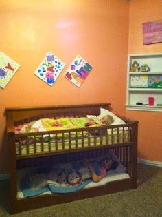 We converted a crib into a very low toddler bunk bed. We used a convertible crib and an extra rail from another convertible crib we have. Toddler Bunk Beds, Diy Toddler Bed, Kid Beds, Bunk Bed Crib, Old Cribs, Wooden Bunk Beds, Bunk Beds With Storage, Diy Bett, Diy Crib