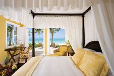 Tortuga Bay in the Dominican Republic is decorated by designer Oscar de la Renta, who lives nearby.