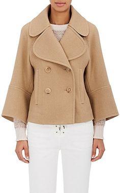 Chloé Brushed Wool-Blend Twill Crop Jacket - Coats - 505207127