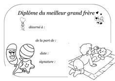 """fiche a imprimer """" diplôme du meilleur grand frère """""""