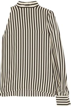 MSGM - One-shoulder Striped Silk Crepe De Chine Top - Off-white - IT38