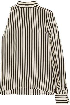 MSGM - One-shoulder Striped Silk Crepe De Chine Top - Off-white - IT