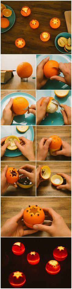 Teelichter aus Orangenschalen. Sehen nicht nur gut aus - duften auch unwiderstehlich!