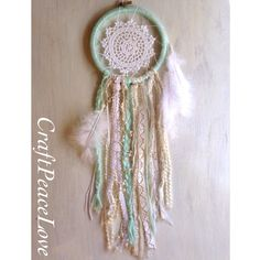 Mint, Cream, and White Shabby Dreamcatcher/Wall Hanging - pinned by pin4etsy.com