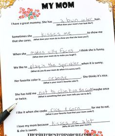 mother s day printable me and my mom printable  a printable fill in poem for mother s day it is fun to hear