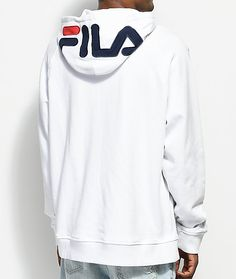 2a7d0647a07 FILA Logo White Hoodie Crew Neck Sweatshirt