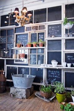 old window's and chalk board paint