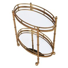 Art Deco 2 Tier Mirrored Serving Trolley
