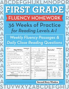 First Grade Fluency Homework & Daily Close Reading Questions … Reading Comprehension Passages, Reading Fluency, Reading Intervention, Reading Skills, Teaching Reading, Guided Reading, Teaching Ideas, Reading Homework, Homework Sheet