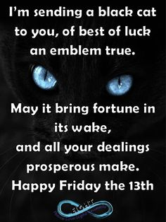 Happy Friday the 13th! May luck be on your side.   and remember...   if a black cat crosses your path it signifies that the animal is going somewhere! ;)