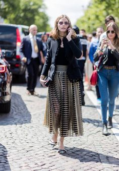 Olivia Palermo outside Dior during Paris Fashion Week Haute Couture Fall/Winter 20172018 Day Two on July 3 2017 in Paris France