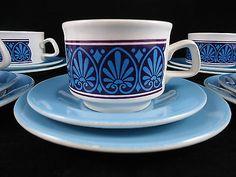 Retro Vintage STAFFORDSHIRE POTTERIES Blue & Purple Tea Cups, Saucer & Side Set Purple Tea Cups, Tea Cup Saucer, Retro Vintage, Porcelain, British, Pottery, Plates, Ceramics, Mugs