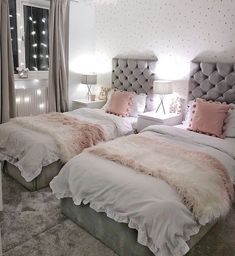 Grey and pink bedroom for sisters with twin beds. Scandi style girls bedroom – A Labour of LIfe Grey and pink bedroom for sisters with twin beds. Scandi style girls bedroom Grey and pink bedroom for sisters with twin beds. Twin Girl Bedrooms, Shared Bedrooms, Girls Bedroom, Twin Girls, Master Bedroom, White Bedrooms, Bedroom Bed, Bed Room, Cute Bedroom Ideas