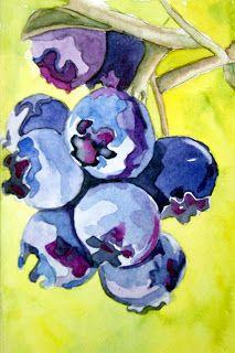 works of artist, Rebecca Scrivner Lemmon: Stylized Blueberries - Original Watercolors & PRINTS Watercolor Fruit, Fruit Painting, Watercolor Flowers, Blue Painting, Painting & Drawing, Watercolor Paintings, Watercolours, Fruit Art, Art Plastique