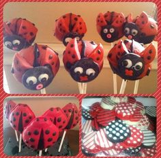 Lady bug cake pops. Lady bug chocolate pops. Red, white and black chocolate covered oreos. These were custom made for my daughter's 1st bday.
