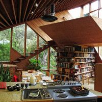 Architect John Lautner created an amazing wooden home in the late 60′s in the Santa Monica area that is still a timeless piece of architecture today.