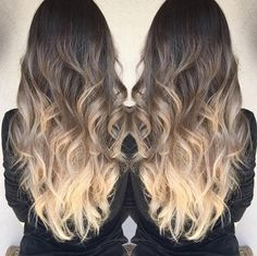 summer ombre ash brown to ivory balayage