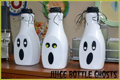 Recycled Juice Bottle Ghosts
