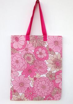 Retro Floral Tote Bag Pink Cotton by didyoumakeityourself on Etsy