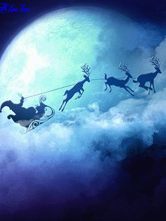 Santa Flying Across The Moon gifs gif clouds cool images moon holiday christmas gifs winter images awesome gifs season greetings