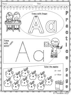 Alphabet Worksheets - Trace and Color Alphabet Tracing, Alphabet Worksheets, Preschool Worksheets, Alphabet Activities, Literacy Activities, Creative Activities, Letter Recognition, Teacher Resources, School Resources