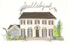 Custom House Portrait - Made to Order - Illustrated House Portrait - Hallelujah Praise Portrait on Etsy, $175.00