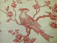 Auvergne Red Birds Linen Curtain & Upholstery Fabric. #upholstery #fabric #curtains
