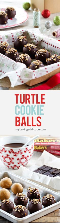 Turtle Cookies Balls have only five ingredients and three steps. So perfect for… (christmas treats for adults) Candy Recipes, Cookie Recipes, Dessert Recipes, Top Recipes, Sweet Recipes, Healthy Recipes, Holiday Baking, Christmas Baking, Thanksgiving Baking