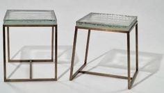 brass + glass side tables