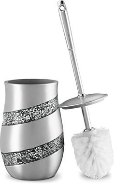 Dwellza Silver Mosaic Toilet Bowl Brush with Holder x x - Rust Resistant Resin- Decorative bowl Scrubber- Space Saving Design- Contemporary Scrubbing Cleaner (Silver Gray) Washroom Design, Toilet Brushes And Holders, Plastic Baskets, Interior Exterior, Interior Design, Bathroom Inspiration, Bathroom Ideas, Traditional Decor, Good Grips