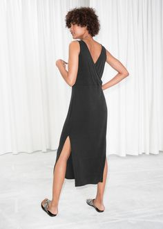 Model back image of Stories scoop neck midi dress in black Summer Outfits, Summer Clothes, Scoop Neck, Model, How To Wear, Black, Dresses, Image, Style