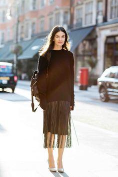 Leila Yavari in a Jil Sander sweater, Valentino skirt, Proenza Schouler shoes and Giorgio Brato backpack. Photo by Victoria Adamson.