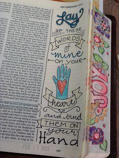 "Deuteronomy - ""Bind them on your hand"" - Bible Journaling by Nola Scripture Art, Bible Art, Bible Prayers, Bible Scriptures, Bible Study Journal, Art Journaling, Scripture Journal, Journal Art, Book Of Deuteronomy"