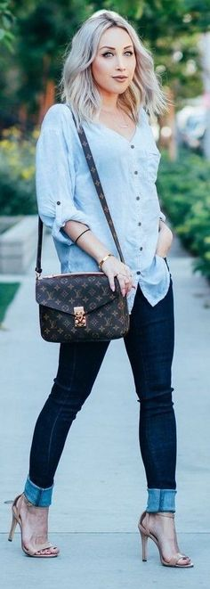 #summer #chic #style #outfitideas | Chambray + Denim Source